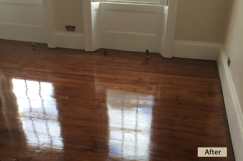 Pine Floor Sanding & Staining After
