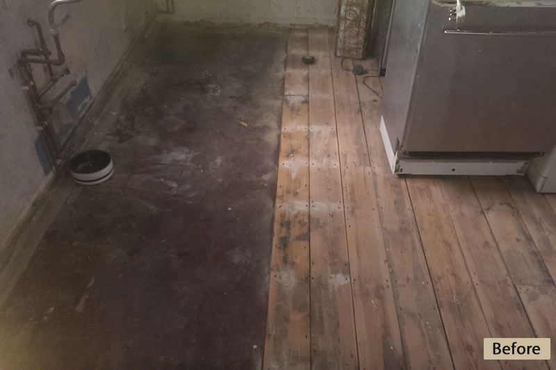 Pine Floor Hallway Before